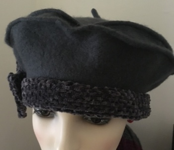 Beret with chenille detailing